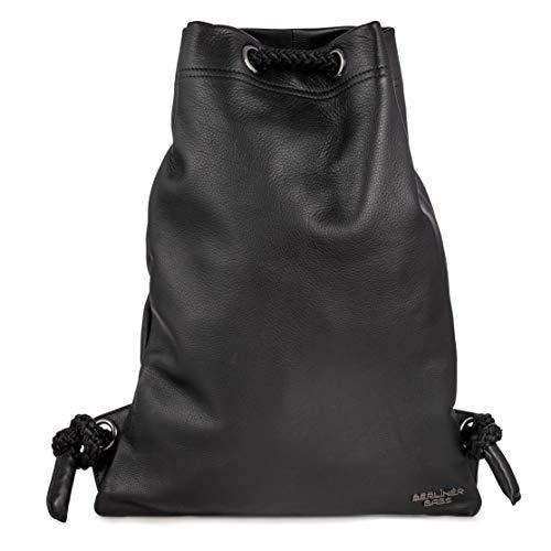 Luxus-leder-taschen (Berliner Bags Luxus Gym Bag Turnbeutel aus Echtes Leder Beutel Rucksack Sportbeutel Turntasche Wasserdicht Damen Herren Schwarz)