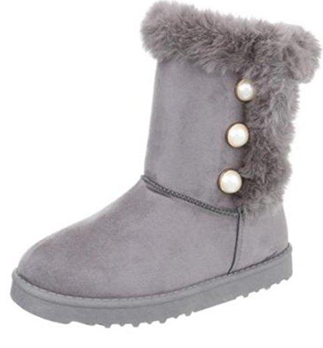 Damen Fellstiefel Winter Stiefeletten Stiefel Schuhe Boots Damenstiefel Winterstiefel, Farbe Grau, Gr. 39