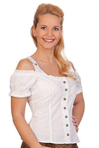 Spieth & Wensky Trachten Bluse - WEDA - weiß, türkis, Größe 42
