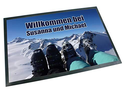 Werbetreff Gera Fußmatte Ski Schuhe Name oder Wunschtext, Après-Ski, Der Berg Ruft, Wintersport, Teppich (50 x 35 cm)