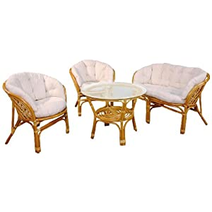 Hansen Rattan 1371/L Rattan Sitzgruppe 2 Sessel, 1 Bank und 1 Tisch, Honig gebeizt