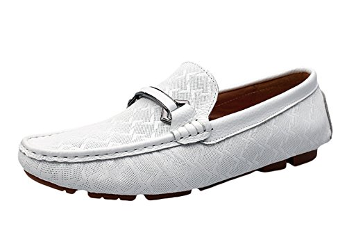 SK Studio Herren Mokassin Fahren Schuhe Boat Bootschuhe Männer Freizeit Atmungsaktiv Slipper Loafers Halbschuhe Weiß