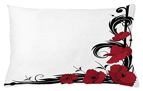 Art Nouveau Throw Pillow Cushion Cover, Poppy Bouquet Branches Romantic Pastoral Idyllic Meadow Blossom Vintage, Decorative Square Accent Pillow Case, 18 X 18 Inches, Black Ruby White Nouveau Monograms