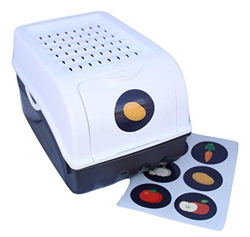 Boîte de conservation + 6 Stickers autocollants pour Pommes de terre, Légumes, Fruits, Oignons, Boîte de rangement en plastique, Volume de 7,7 litres (blanc)