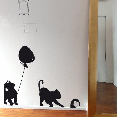 Gatto con Palloncino- Wall stickers - Wallstickers wandtattoo schlafzimmer aufkleber