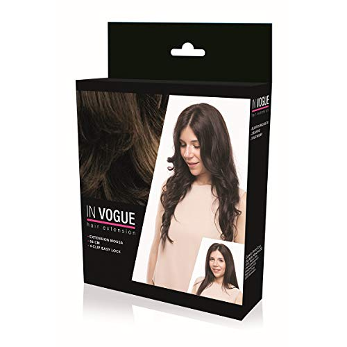 In vogue - extension clip capelli mossi - hair extension mosse per allungare i capelli - gianduia - 55cm