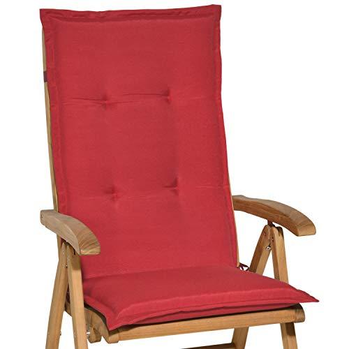 Beautissu cuscino per sedia a sdraio loft hl 120x50x6cm resistente e comodo anche per sedie reclinabili, spiaggine e poltrone - rosso