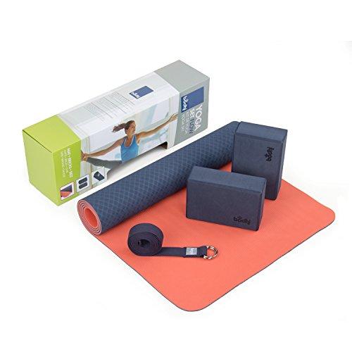 Yogaset Flow (blau),1 Yogamatte aus TPE, 2 Yoga-Bricks aus EVA (Moosgummi), 1 Yoga-Gurt aus Baumwolle, Einsteiger-Set, Yoga-Set für Anfänger