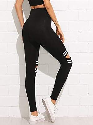 Shocknshop Knee Cut Ripped Ankle-Length Skinny Bottoms Women Mid Waist Casual Leggings (LEG35)