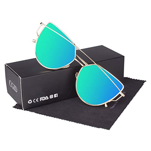 CGID Mode Polarisierte Katzenaugen Sonnenbrille For Damen UV400 reflektierenden Spiegel, B3 Gold Grün,