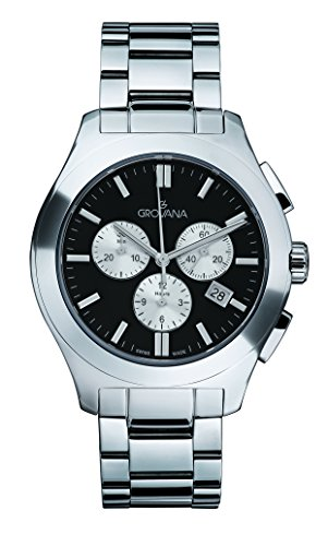 GROVANA-20969137-Unisex-Quartz-Swiss-Watch-with-Black-Dial-Chronograph-Display-and-Silver-Stainless-Steel-Bracelet