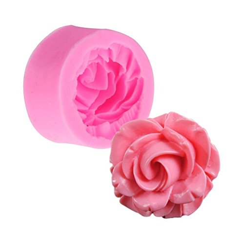 UEETEK 3D Rose Blume Backen Tassen Muffin Tasse Cookie Mold Fondant Schokolade Cutter Silikonform Dekoration Werkzeug (rosa) (Fondant-mini-fräser)