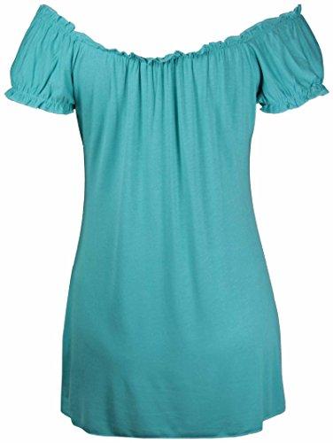 Neu Damen Offene Schulter Geraffte T-Shirt Oberteile Womens Gypsy Boho Gerüscht Elastische Dehnung Top Plus Größe Hellblau