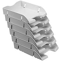 Herlitz-Vassoio con spazio per documenti formato A4-C4 11247103 PET riciclata, confezione da 6, colore: grigio