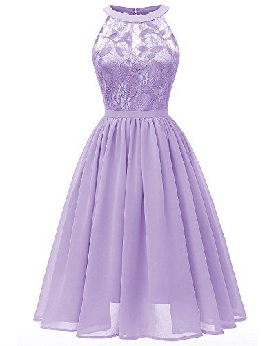 Viloree Damen Neckholder Floral Spitze Brautjungfern Partykleid Ärmellos Cocktail Kleid Lavendel 2XL
