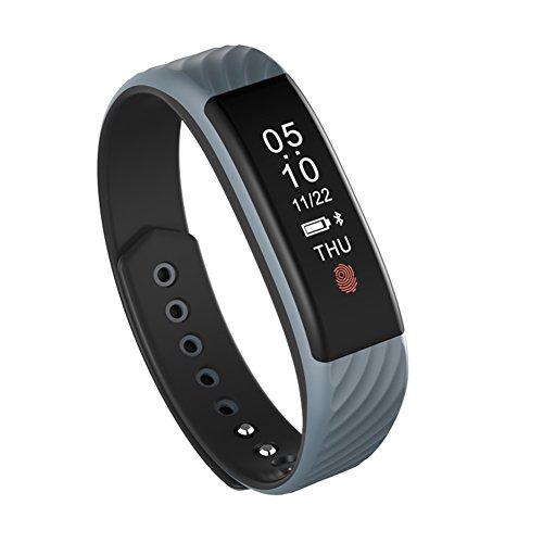 Aktivitätstracker Herzfrequenz Messgerät, Wotumeo Fitness Tracker Smart Armband Bracelet Wasserdicht Touchscreen Bluetooth Smartband Anruferinnerung Synchronisierte Benachrichtigungen Schrittzähler Schlafüberwachung Mode Design Sportuhr für iOS und Android Smartphones (Grau)