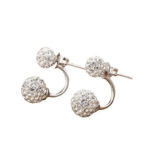 Nicetruc Vorne Hinten Doppelseitiger Kugel-Ohrringe Dangler Eardrop Doppel-Hängen voller Diamant für Frauen Mädchen 2pcs Weiß