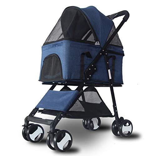 3-in-1 Kinderwagen (reiseträger +autositz +Stroller), Folding Tragbarer Vierräder Pet Travel Carrier-blau (Autositz Für Jogging-kinderwagen)