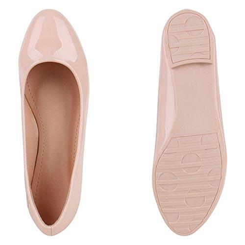 Klassische Übergrößen Damen Ballerinas Lederoptik Freizeit Flats Schuhe Rosa Lack