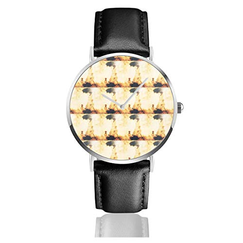 Armbanduhr, Quarzuhr, strahlende Sonnenschirme, lässige Uhren, für Herren und Damen mit schwarzem Leder