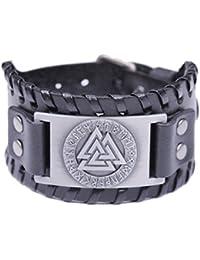 Fishhook - Bracelet manchette en cuir motif mythologie nordique - Symbole 24, amulette, talisman - Le Valknut des Vikings