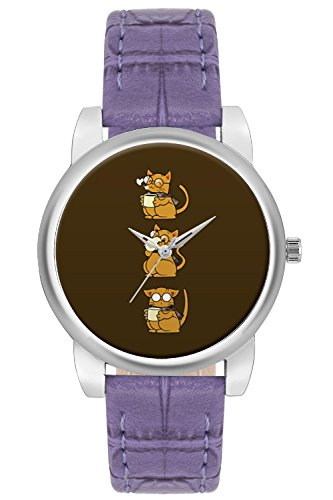 Women's Watch, BigOwl Cat Coffee And Glasses Designer Analog Wrist Watch For Women - Gifts for her dials