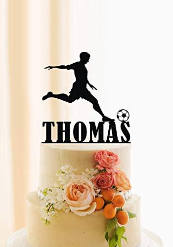 Fußball-Kuchenaufsatz für Geburtstagskuchen, personalisierbar, mit Namen und Fußballspieler-Silhouette