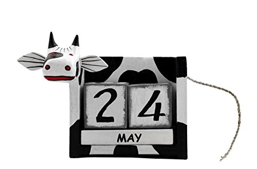 G6 COLLECTION Wooden Perpetual Whimsical Cow Calendar Handmade Unique Removable Blocks