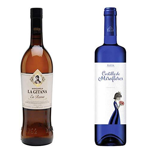 Manzanilla La Gitana En Rama Y Castillo De Miraflores - D. O. Manzanilla De Sanlúcar De Barrameda Y Vino Blanco D. O. Rueda - 2 Botellas De 750 Ml