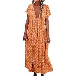 Vestido Largo Bohemio para Mujer Vestido Suelto Informal de Manga Corta con Cuello en V Naranja L