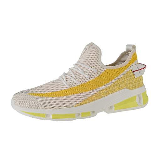 CUTUDE Schuhe Herren Sneaker Lässige Turnschuhe Laufschuhe mit Runder Zehenpartie Leichte Joggingschuhe Atmungsaktive Schnürschuhe rutschfeste Wanderschuhe (Gelb, 44 EU)