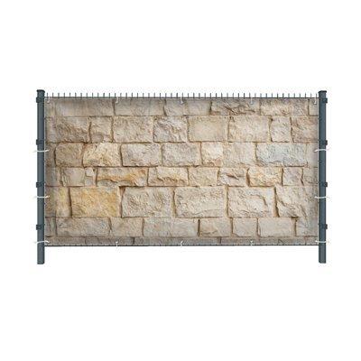 (PVC) Steinwand Z5 Zaunbanner, Sichtschutz, Windschutz, Zaunblende, Garten, 250 x 182 cm, DRUCKUNDSO