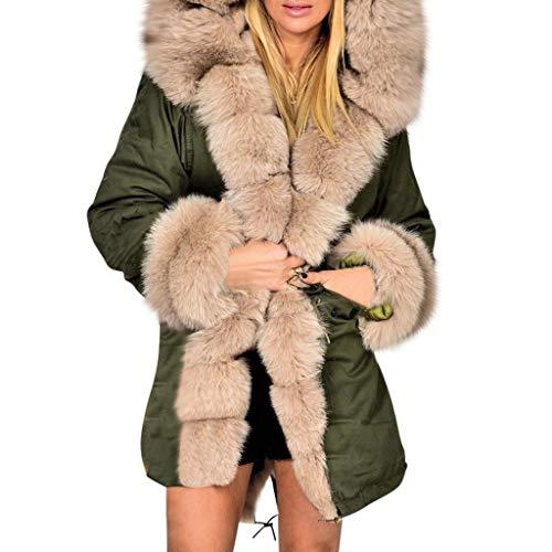 Frauen Jacke Mantel Warmer Plüsch Mantel Plus Size Dicke Wolle Lamm Mittellange Windjacke Outwear(3XL,Grün)