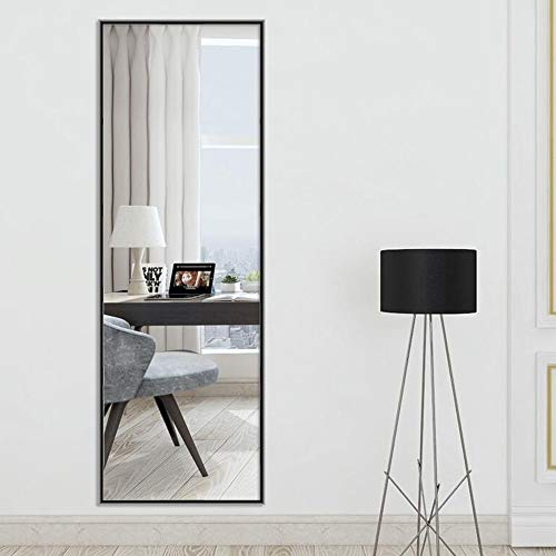Espejo de aleación de Aluminio de Cuerpo Entero Espejo montado en la Pared Borde de Pintura Cepillado Espejo a Prueba de explosiones Espejos de Suelo (Color : Negro, Tamaño : 150 * 40cm)