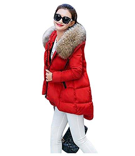 YOUJIA Mujer Casual Espesar Cálido Invierno Abrigo Acolchado Chaquetas con Capucha de Piel Sintética (Rojo, 2XL)