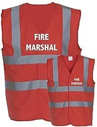 FIRE MARSHAL Health and Safety Hi Viz Vis Vests Safety Vests Waistecoat (3XL, Red)