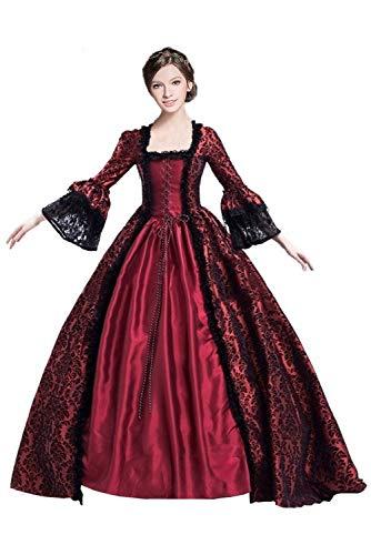 19 Jahrhundert Kostüm Kleid - Huiyemy Damen Langarm Renaissance Mittelalter Kleid, Gothic Viktorianischen Königin Kostüm, U-Ausschnitt mittelalterlichen Adels Palast Prinzessin Maxikleid XXXL