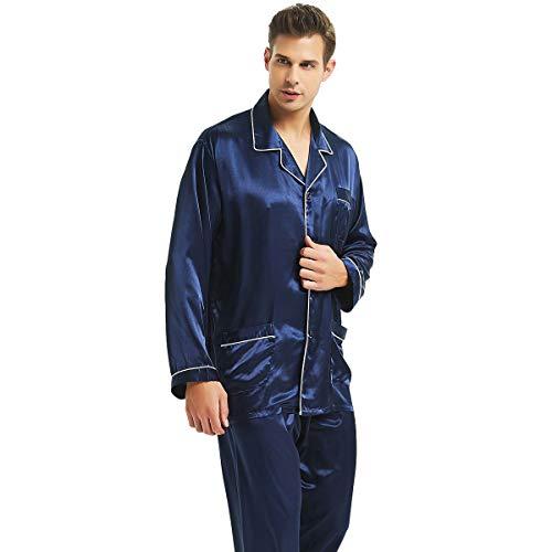 Herren Seide Schlafanzug Pyjama Homewear Streifen Blau XXXX-Large