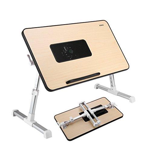 Icoco - Mesa plegable de cama con ventilador USB, bandeja para ordenador portátil para cama, mesa, sofá y escritorio