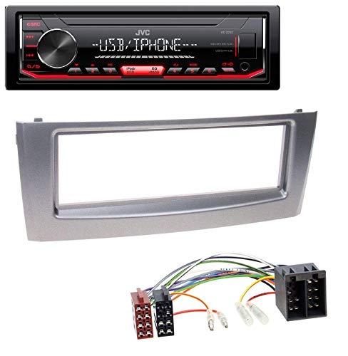 caraudio24 JVC KD-X252 1DIN AUX USB MP3 Autoradio für FIAT Punto Grande Punto ab 05 grau