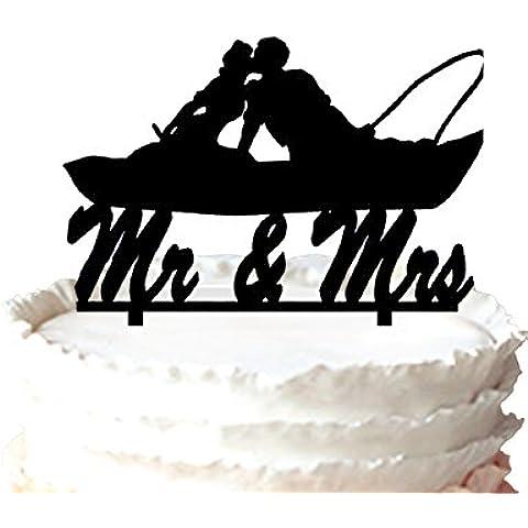 kaishihui Coppia pesca in barca Kissing–Mr e Mrs Wedding Cake Topper