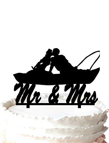 kaishihui Coppia pesca in barca Kissing-Mr e Mrs Wedding Cake Topper
