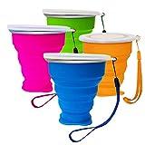 Unzerbrechlich Faltbarer Becher Silikon mit Deckel Camping Klappbecher Tragbare Tasse für Outdoor Camping Wandern Picknick (Blau + Orange + Grün + Rosa)