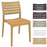 CLP Gartenstuhl ARES aus Kunststoff l Küchenstuhl belastbar bis 160 kg l Wasserabweisender, UV-beständiger Stapelstuhl Sand