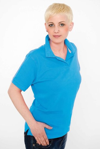 Slazenger Forehand Ladies` Polo Black Light Blue