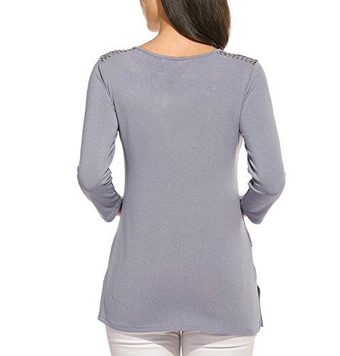 Beyove Damen 3/4 Ärmel T-Shirt Baumwolle Bluse Rundhals Pullover Spitzen Shirt Tops Hohlen Schulter mit Bindebandß Grau
