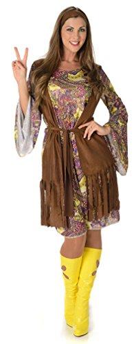 Flippiges Hippie Damen 1960s 70s Sechziger Frauen Erwachsen Hippy Kostüm (Small European 38 - 40 (UK 10 - 12))