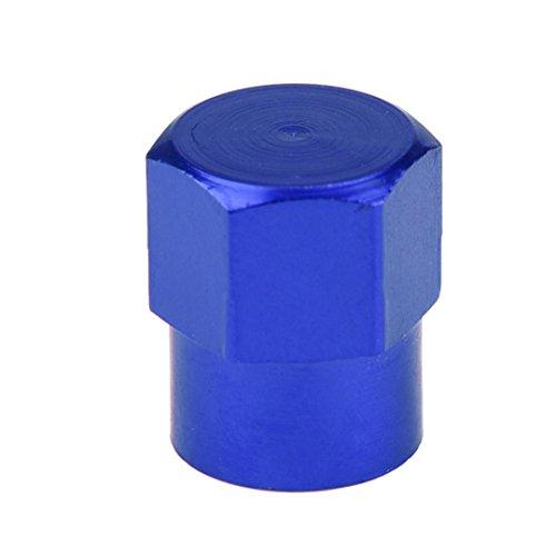 samLIKE 4X Auto-LKW-Fahrrad-Reifen-Felgen-Schaft-Luft-Ventil-Kappen Reifen-Abdeckung Aluminium (Blau)