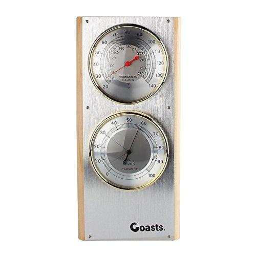 """Jian YA NA Edelstahl Sauna Thermometer Hygrometer Vertikal 7.7\""""x5\"""" x0.8\"""" Silber-"""