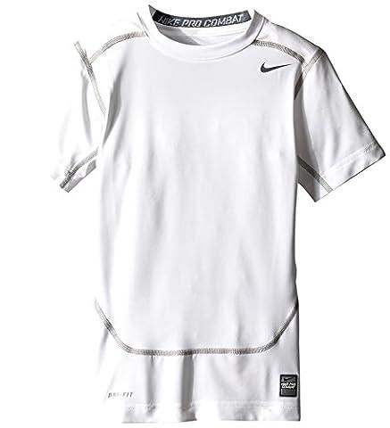 Nike Pro Core Compression T-Shirt manches courtes Garçon Black/Cool L Blanc - Blanc/gris